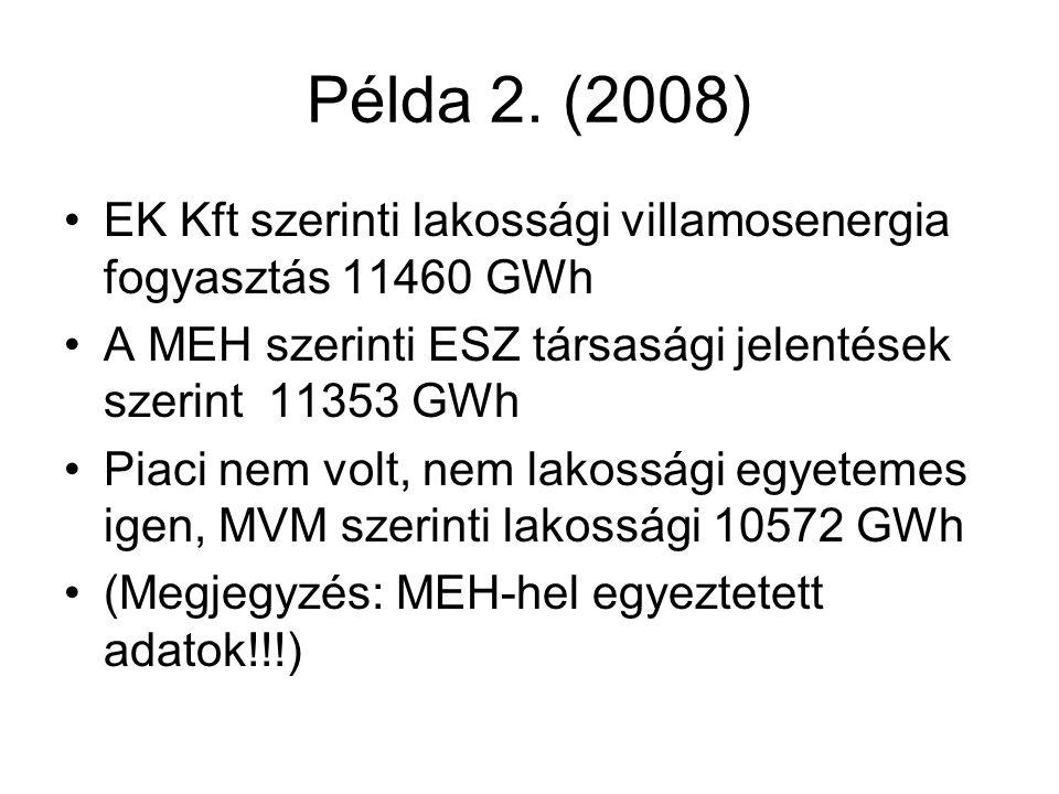 Példa 2. (2008) EK Kft szerinti lakossági villamosenergia fogyasztás 11460 GWh. A MEH szerinti ESZ társasági jelentések szerint 11353 GWh.