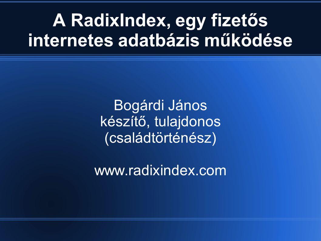 A RadixIndex, egy fizetős internetes adatbázis működése