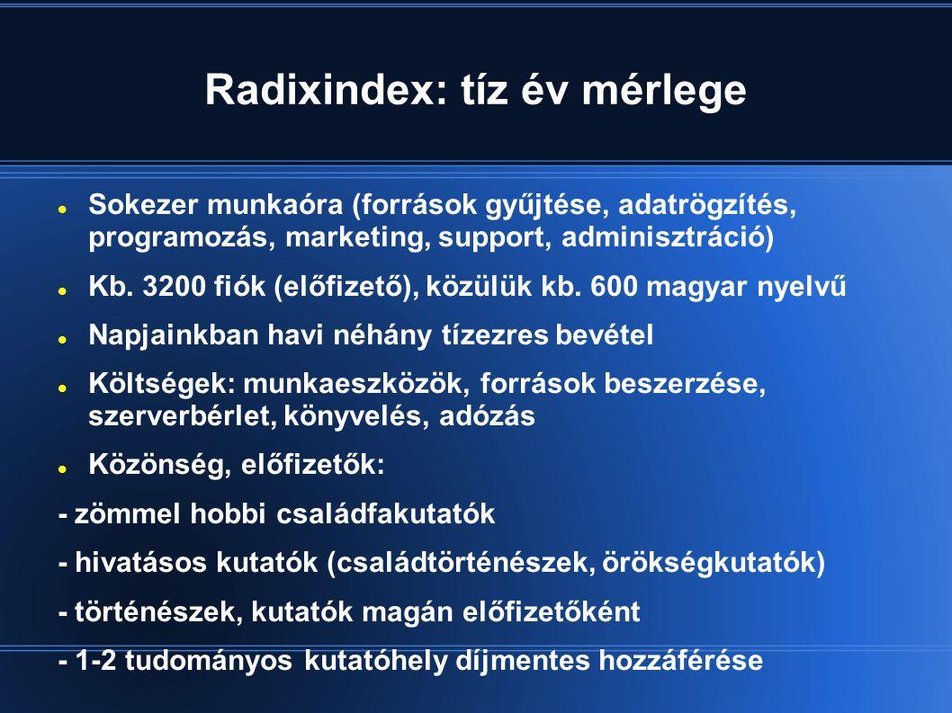 Radixindex: tíz év mérlege