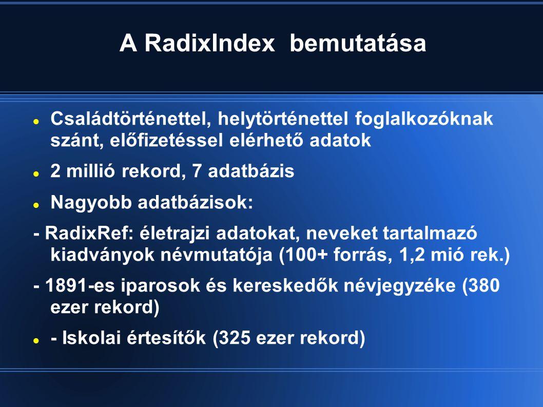 A RadixIndex bemutatása