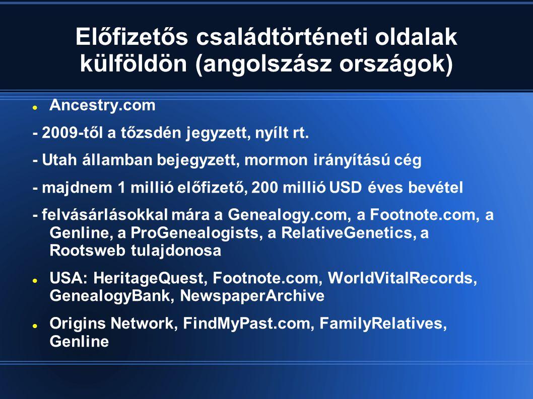 Előfizetős családtörténeti oldalak külföldön (angolszász országok)
