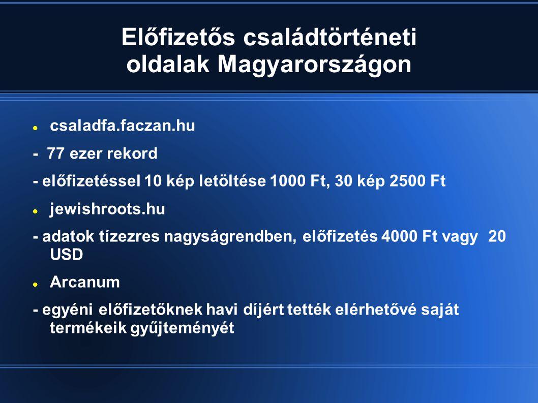 Előfizetős családtörténeti oldalak Magyarországon