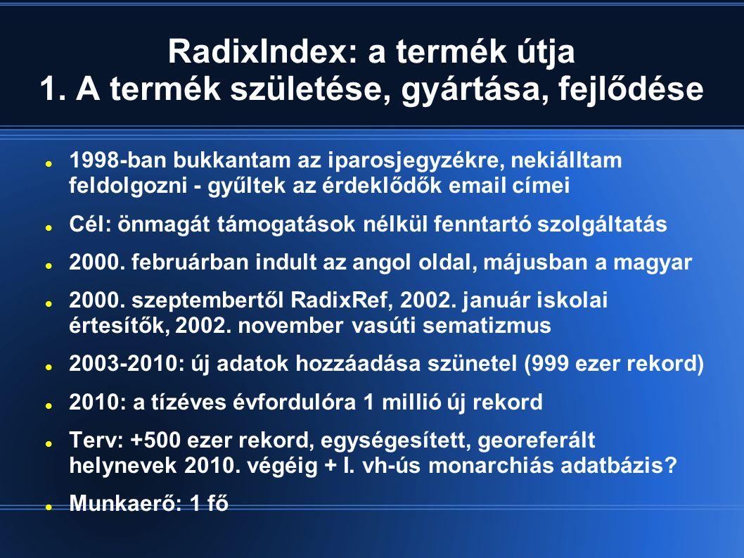 RadixIndex: a termék útja 1. A termék születése, gyártása, fejlődése