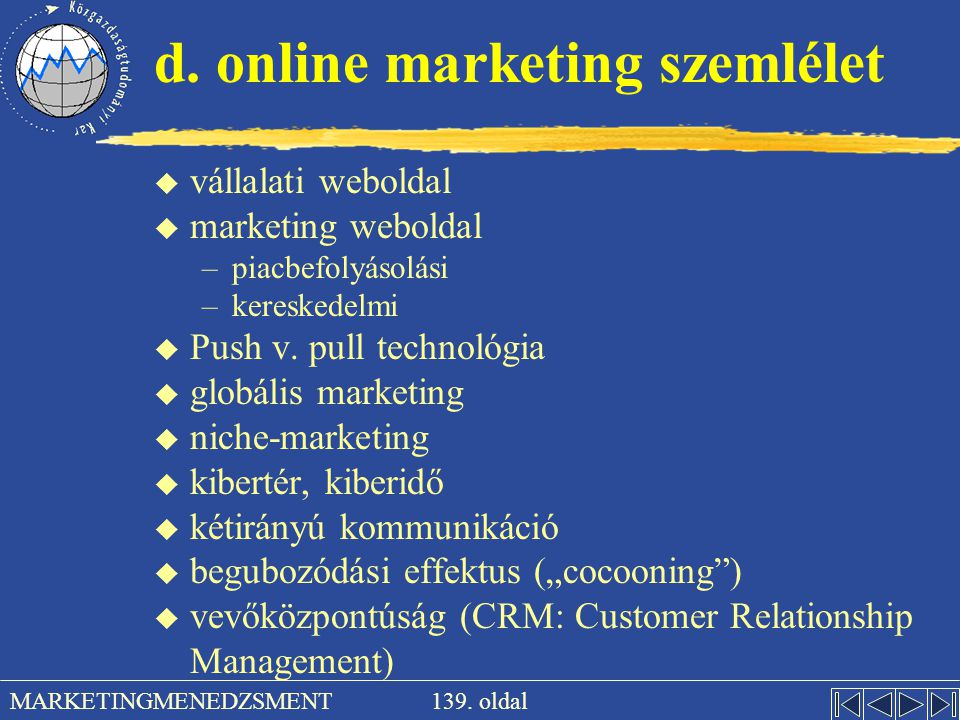 d. online marketing szemlélet