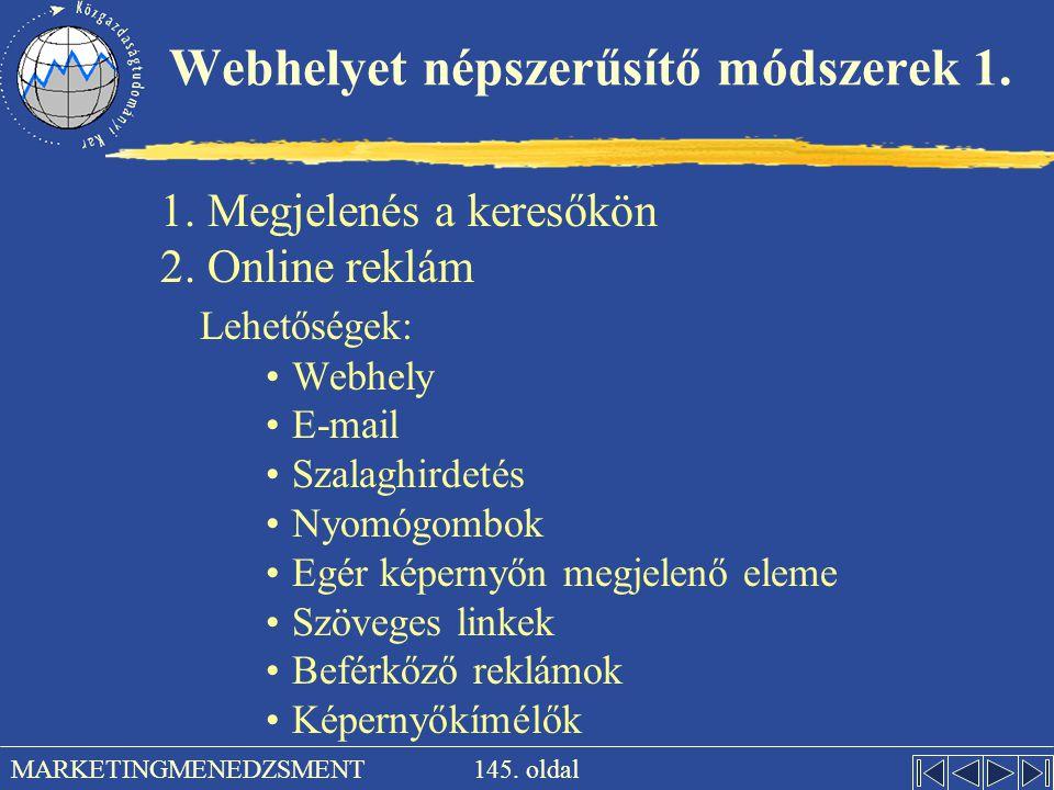 Webhelyet népszerűsítő módszerek 1.