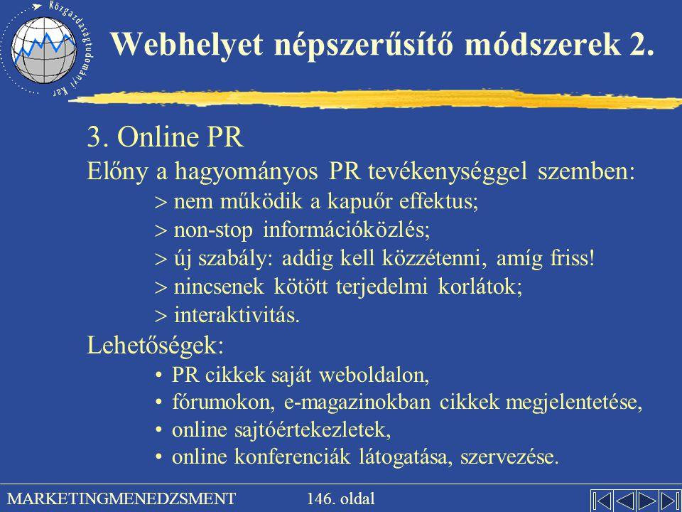 Webhelyet népszerűsítő módszerek 2.