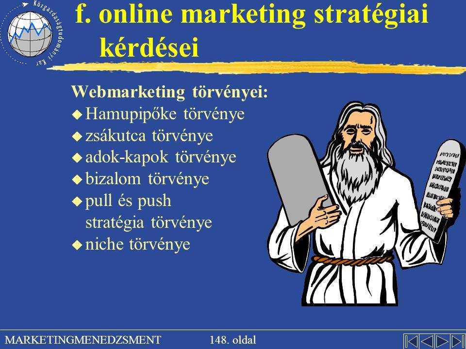 f. online marketing stratégiai kérdései