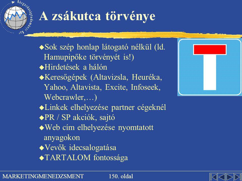 A zsákutca törvénye Sok szép honlap látogató nélkül (ld. Hamupipőke törvényét is!) Hirdetések a hálón.