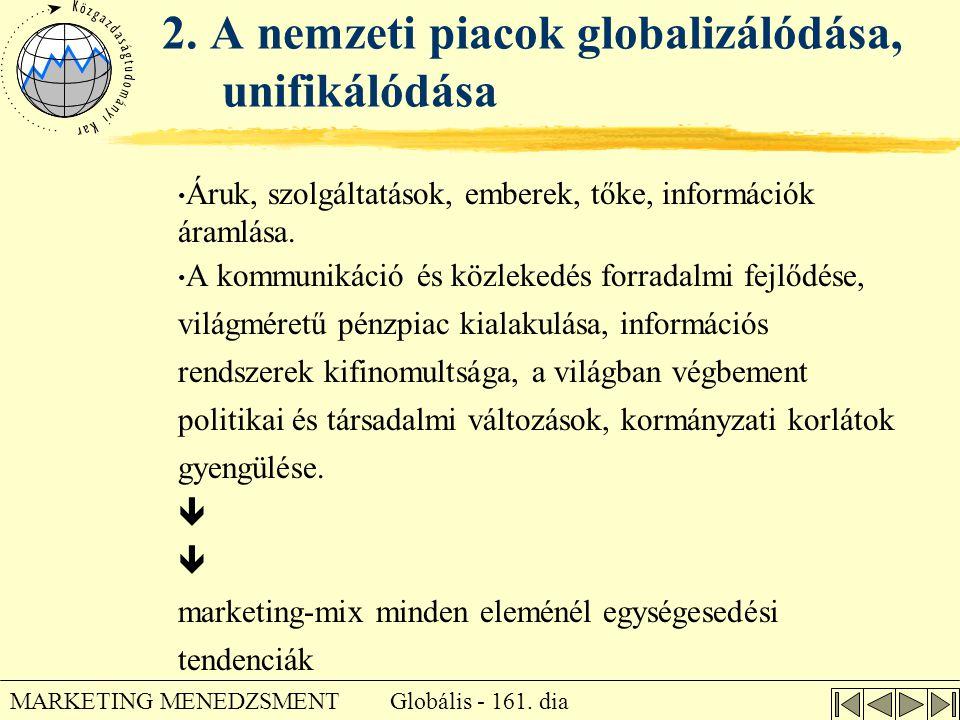 2. A nemzeti piacok globalizálódása, unifikálódása