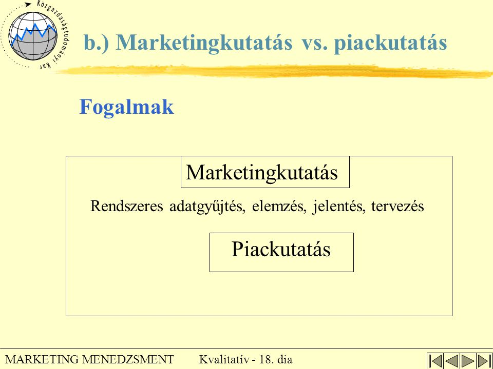 Rendszeres adatgyűjtés, elemzés, jelentés, tervezés
