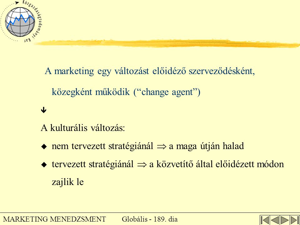 A marketing egy változást előidéző szerveződésként, közegként működik ( change agent )
