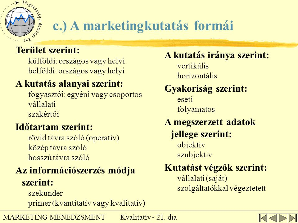 c.) A marketingkutatás formái
