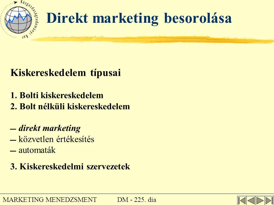 Direkt marketing besorolása