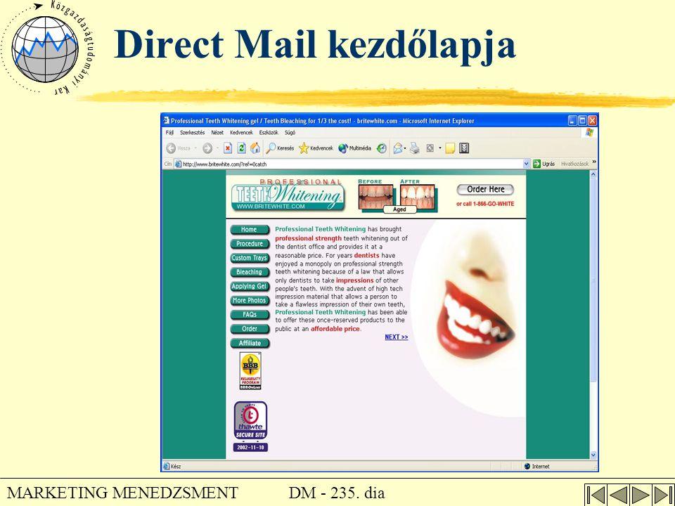 Direct Mail kezdőlapja