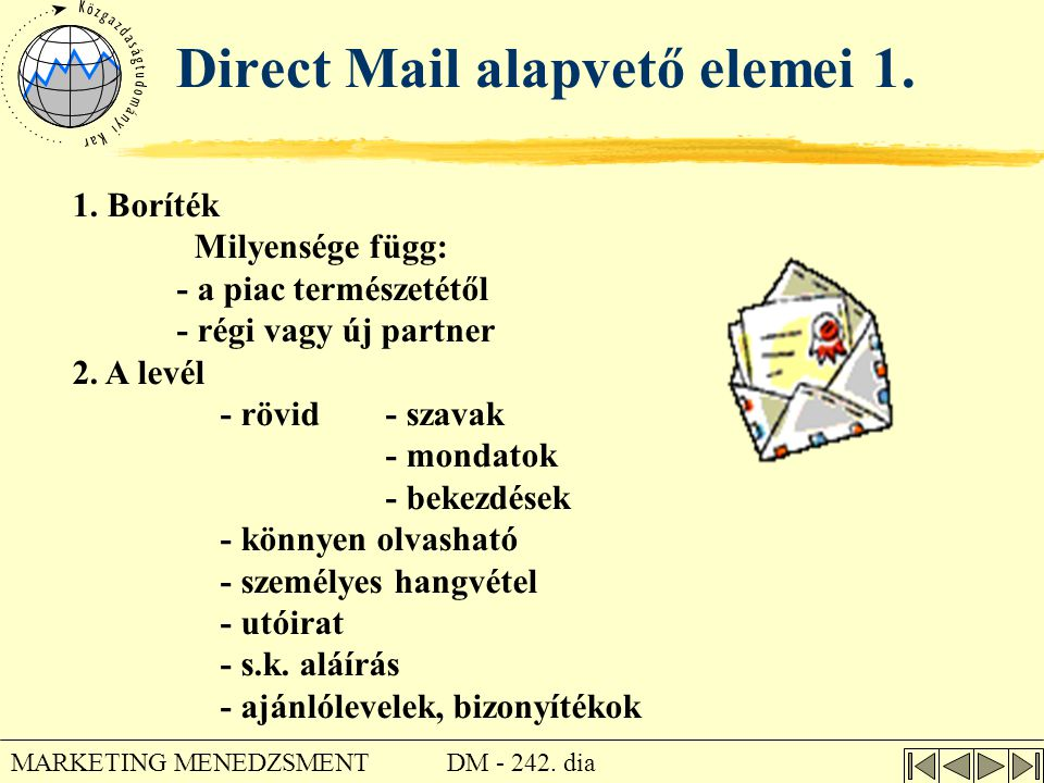Direct Mail alapvető elemei 1.