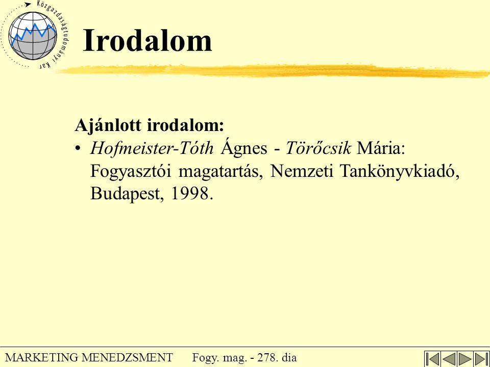 Irodalom Ajánlott irodalom: