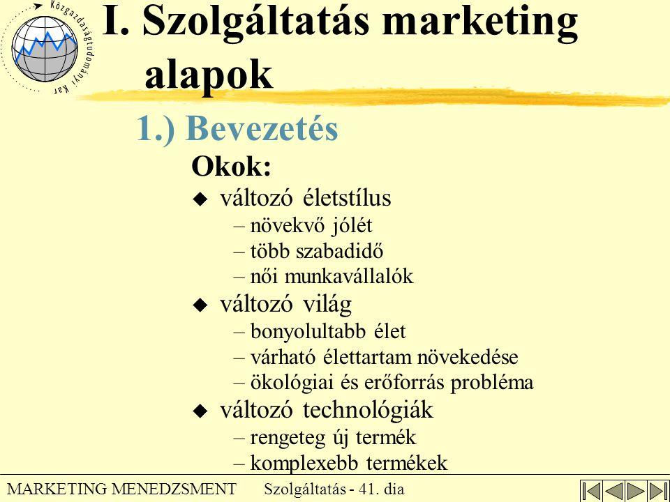 I. Szolgáltatás marketing alapok