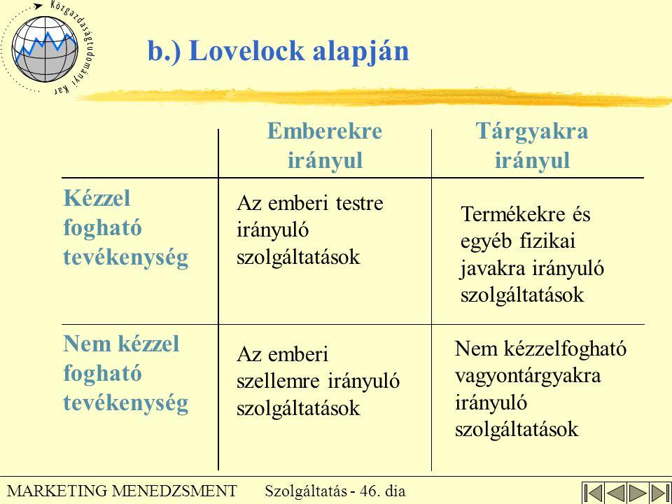 b.) Lovelock alapján Emberekre irányul Tárgyakra irányul