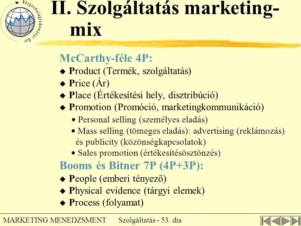II. Szolgáltatás marketing-mix