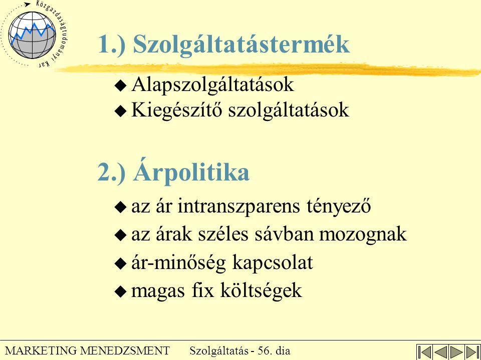 1.) Szolgáltatástermék 2.) Árpolitika Alapszolgáltatások