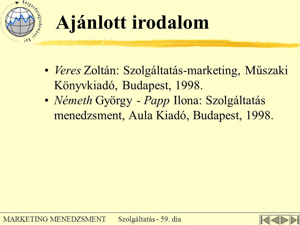 Ajánlott irodalom Veres Zoltán: Szolgáltatás-marketing, Műszaki Könyvkiadó, Budapest, 1998.
