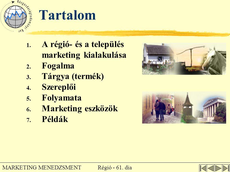 Tartalom A régió- és a település marketing kialakulása Fogalma