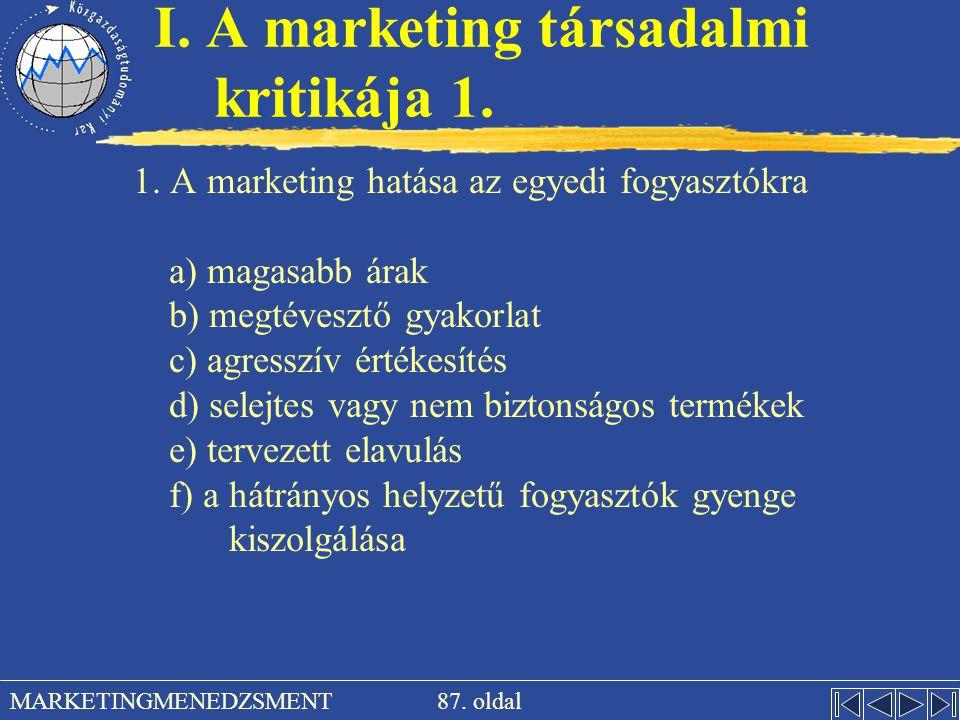 I. A marketing társadalmi kritikája 1.