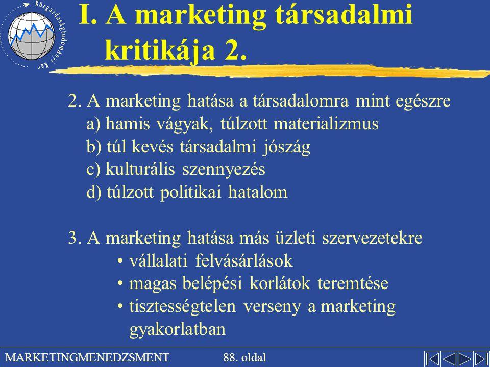 I. A marketing társadalmi kritikája 2.
