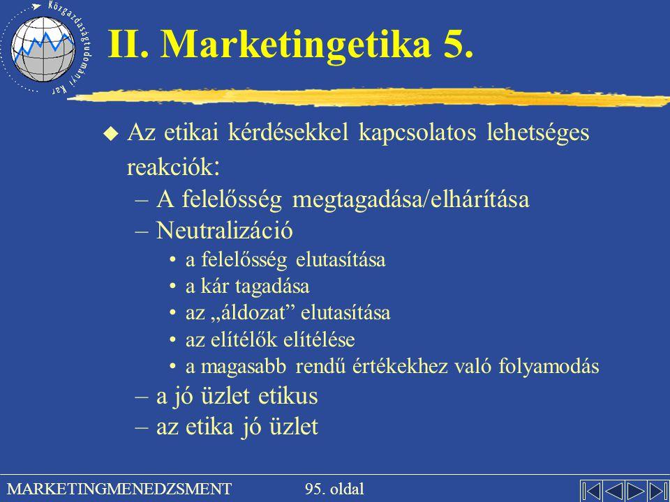 II. Marketingetika 5. Az etikai kérdésekkel kapcsolatos lehetséges reakciók: A felelősség megtagadása/elhárítása.