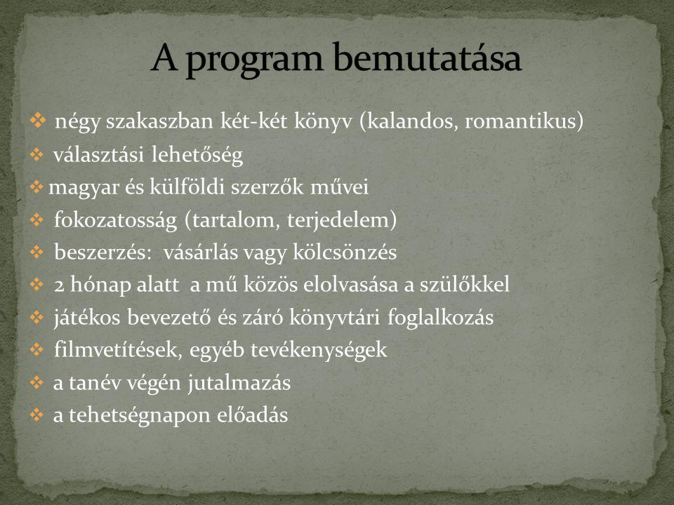 A program bemutatása négy szakaszban két-két könyv (kalandos, romantikus) választási lehetőség. magyar és külföldi szerzők művei.