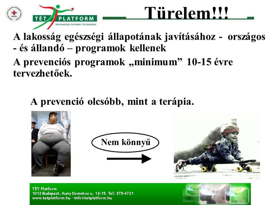 Türelem!!! A lakosság egészségi állapotának javításához - országos - és állandó – programok kellenek.