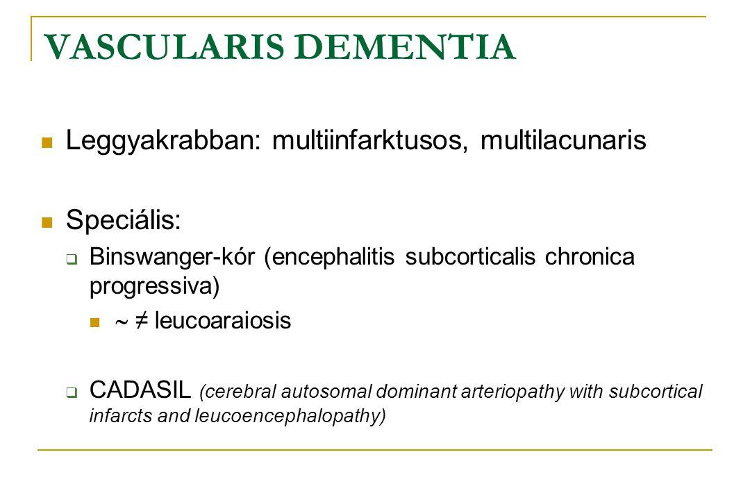 VASCULARIS DEMENTIA Leggyakrabban: multiinfarktusos, multilacunaris