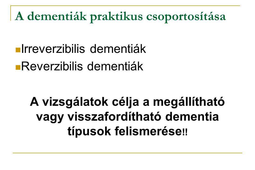 A dementiák praktikus csoportosítása