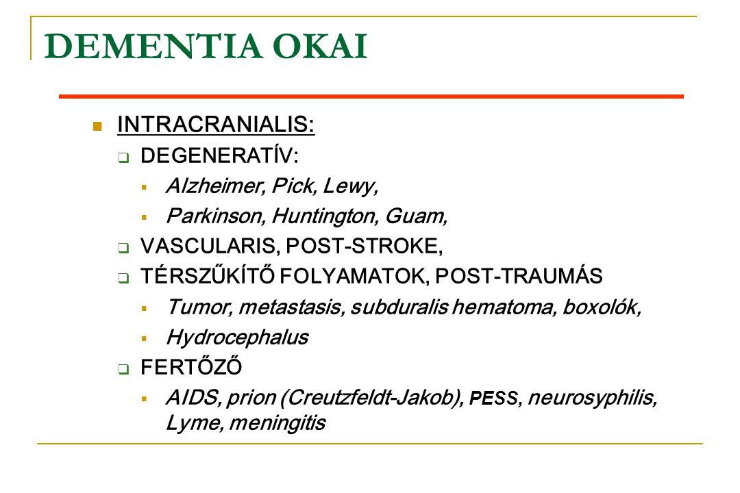 DEMENTIA OKAI INTRACRANIALIS: DEGENERATÍV: Alzheimer, Pick, Lewy,
