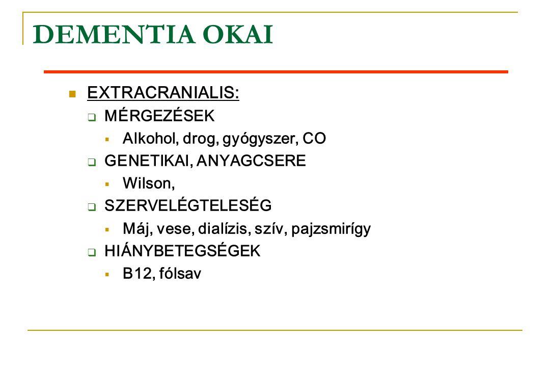 DEMENTIA OKAI EXTRACRANIALIS: MÉRGEZÉSEK Alkohol, drog, gyógyszer, CO
