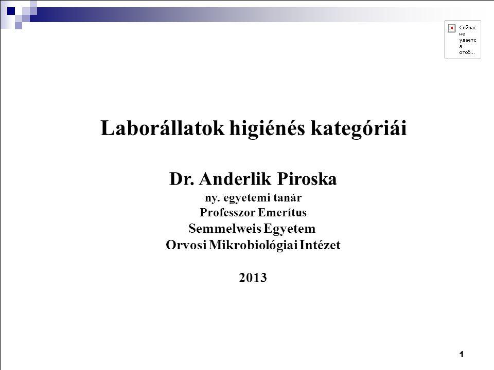 Laborállatok higiénés kategóriái Orvosi Mikrobiológiai Intézet