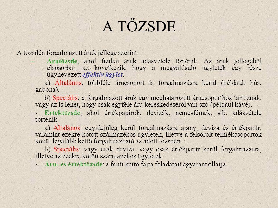 A TŐZSDE A tőzsdén forgalmazott áruk jellege szerint: