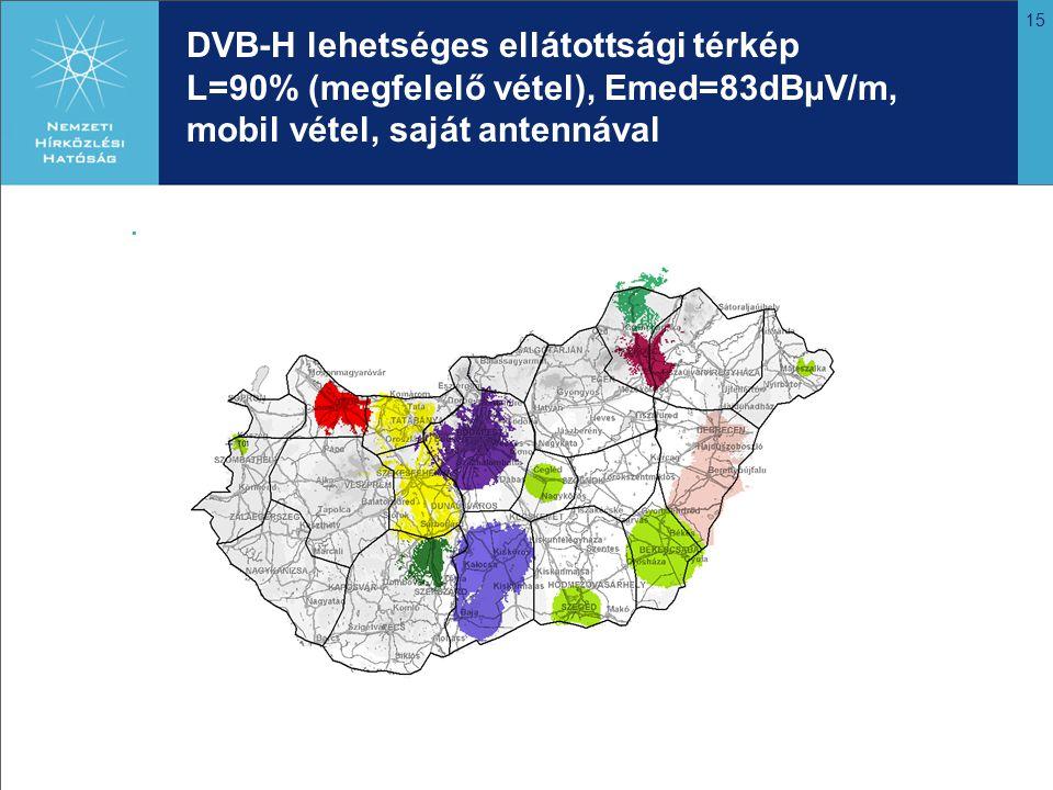 DVB-H lehetséges ellátottsági térkép L=90% (megfelelő vétel), Emed=83dBμV/m, mobil vétel, saját antennával