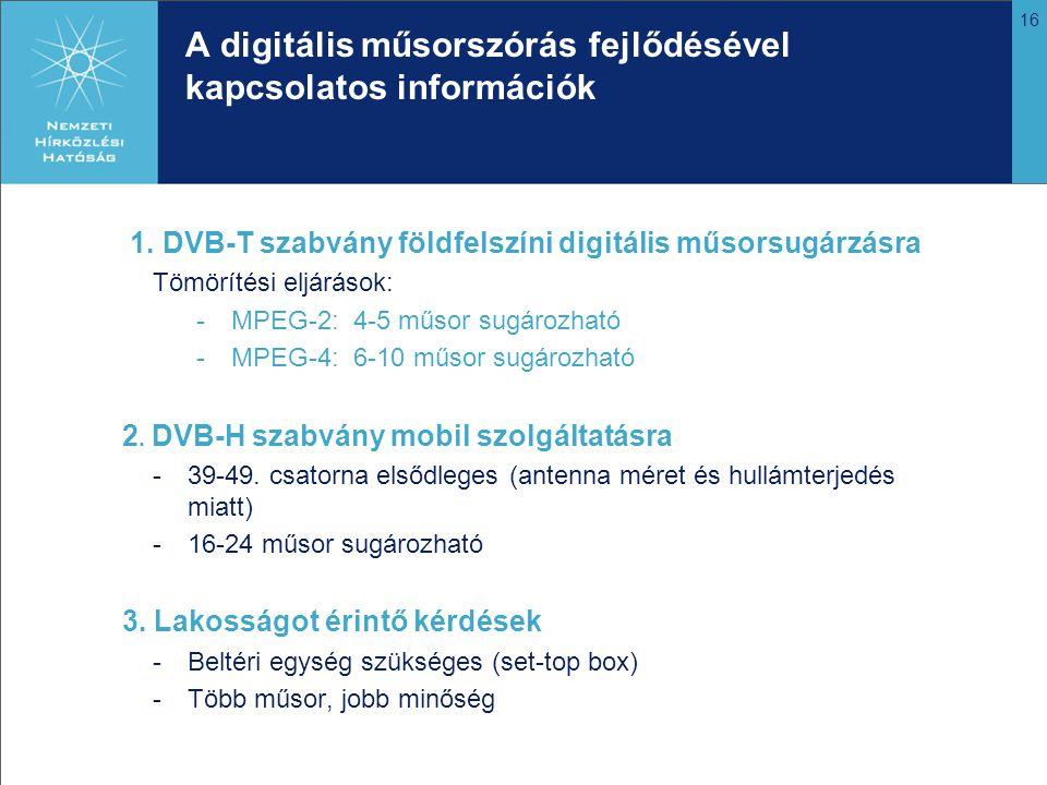 A digitális műsorszórás fejlődésével kapcsolatos információk