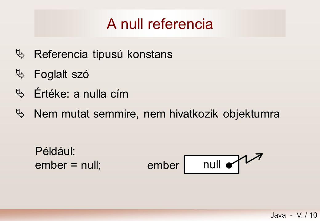 A null referencia Referencia típusú konstans Foglalt szó