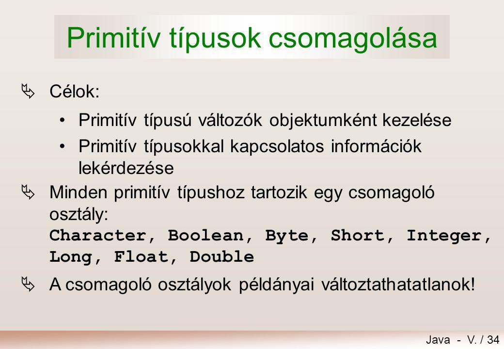 Primitív típusok csomagolása