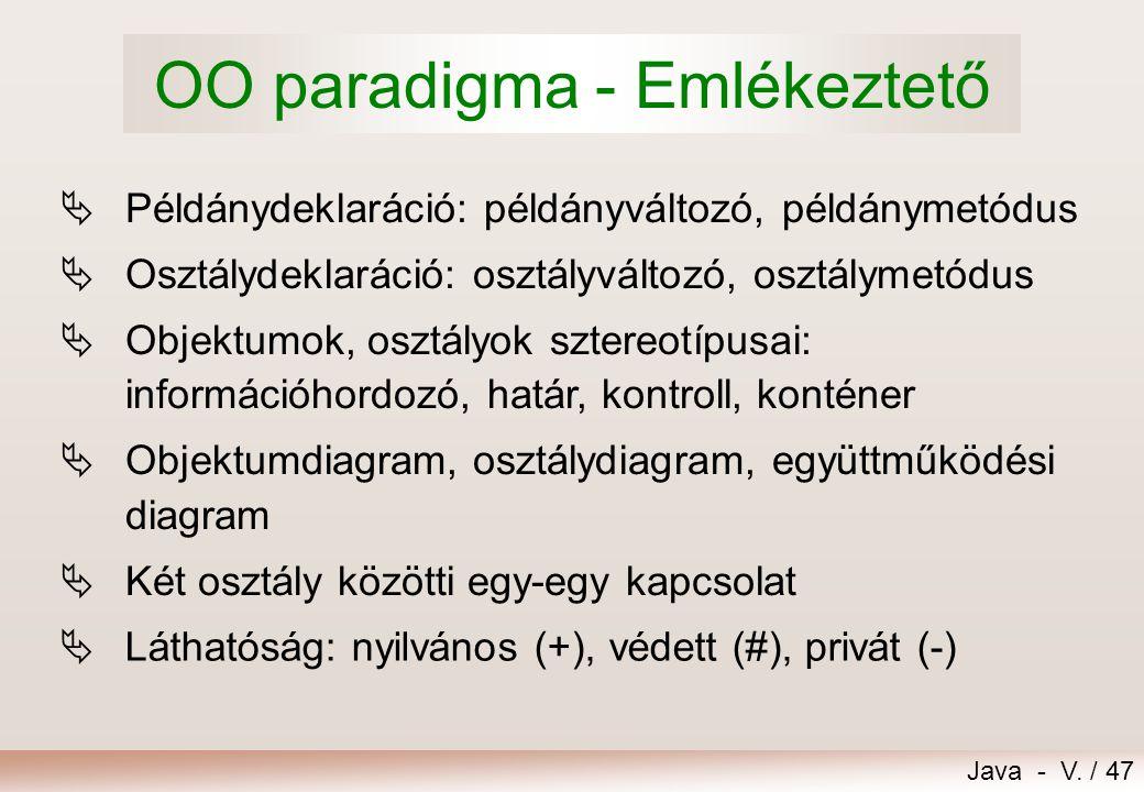 OO paradigma - Emlékeztető