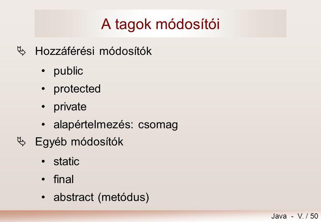 A tagok módosítói Hozzáférési módosítók public protected private