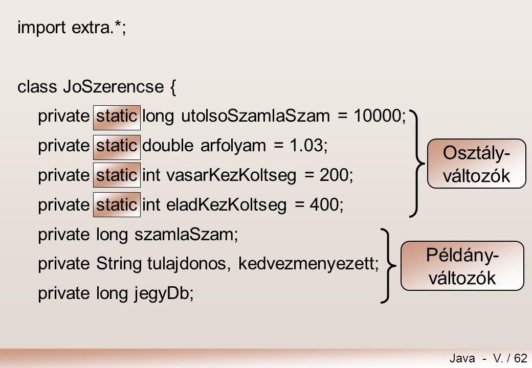 Osztály- változók Példány- változók import extra.*;
