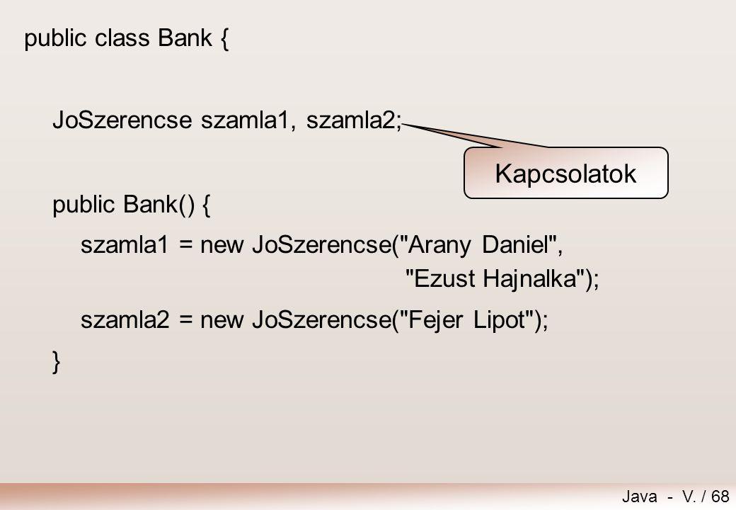 Kapcsolatok public class Bank { JoSzerencse szamla1, szamla2;
