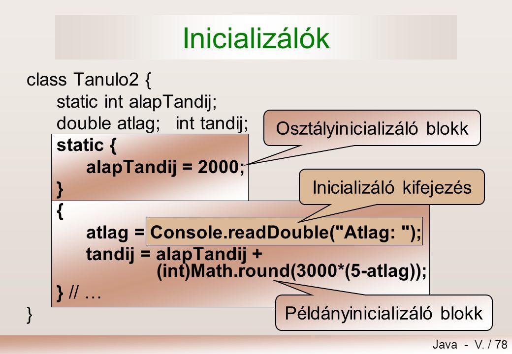 Inicializálók class Tanulo2 { static int alapTandij;
