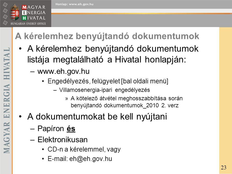 A kérelemhez benyújtandó dokumentumok