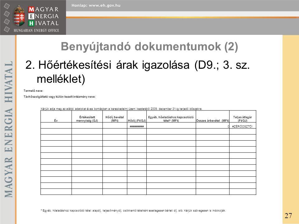 Benyújtandó dokumentumok (2)
