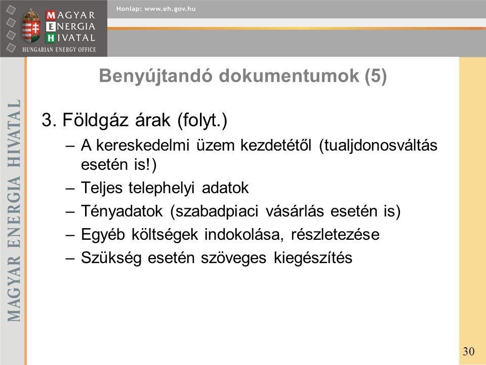 Benyújtandó dokumentumok (5)