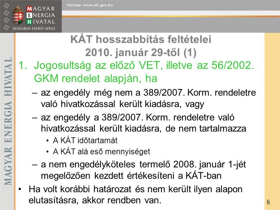 KÁT hosszabbítás feltételei 2010. január 29-től (1)